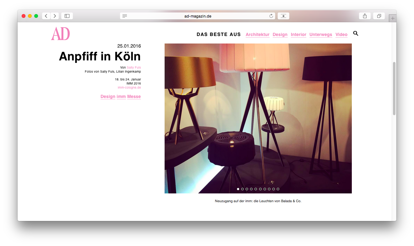 Architectural digest top 10 highlights of imm cologne for Newspaper articles on interior design
