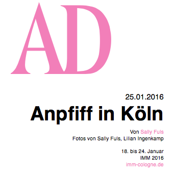 ARCHITECTURAL DIGEST:  Top 10  Messe Highlights imm cologne